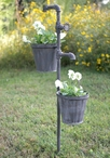 Faucet Metal Garden Stake with Two Planters