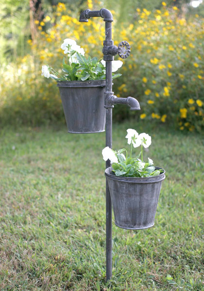 Faucet metal garden stake with two planters outdoor for Metal garden designs
