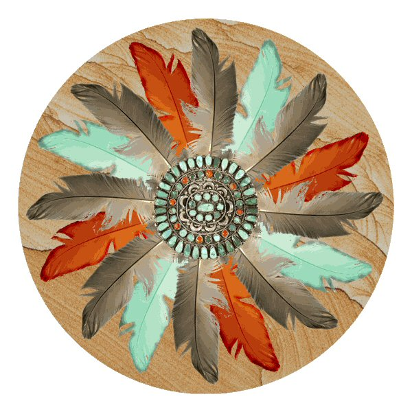 Feather medallion absorbent round beverage coasters set of 12 drink coasters thirstystone - Drink coasters absorbent ...