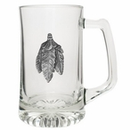 Feathers Glass Super Beer Mug with Pewter Accent