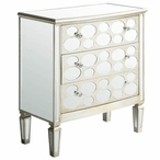 Felicity Oval Mirror Design 3 Drawer Wood Chest