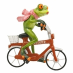 Female Frog Riding a Bike Statue