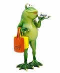 Female Frog Shopping Statue