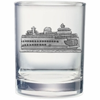 Ferry Boat Pewter Accent Double Old Fashion Glasses, Set of 2