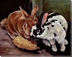 Field Corn Rabbits Wrapped Canvas Giclee Print Wall Art