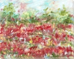 Field of Red Flowers Wrapped Canvas Giclee Art Print Wall Art