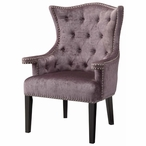 Fifth Ave Upholstered Eggplant Velvet Wood Chair w/ Nail Head Trim