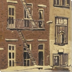 Fire Escape Cityscape Wrapped Canvas Giclee Print Wall Art