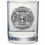 Fire Fighter Pewter Accent Double Old Fashion Glasses, Set of 2