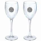 Fire Fighter Pewter Accent Wine Glass Goblets, Set of 2