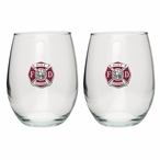 Fire Fighter Red Pewter Accent Stemless Wine Glass Goblets, Set of 2