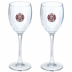 Fire Fighter Red Pewter Accent Wine Glass Goblets, Set of 2