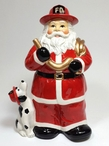 Fire Fighter Santa with His Dog Porcelain Cookie Jar