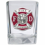 Firefighter Red Pewter Accent Shot Glasses, Set of 4