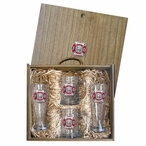 Firefighter Red Pilsner Glasses & Beer Mugs Box Set w/ Pewter Accents
