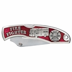 Firefighter Red Stainless Steel Pocket Knife with Pewter Accent