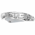 Firefighter Stainless Steel Pocket Knife with Pewter Accent