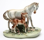 First Steps Mother and Foal Porcelain Horse Sculpture