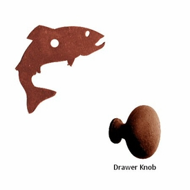 Fish metal drawer pull with back plate drawer knob for Fish drawer pulls