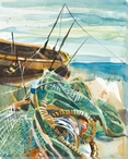 Fishermen's Net and Boat Wrapped Canvas Giclee Print Wall Art