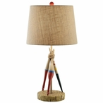 Fishing Bobber Resin Table Lamp with Antique Burlap Shade