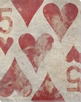 Five of Hearts Wrapped Canvas Giclee Print Wall Art