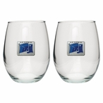 Alaska Flag Blue Pewter Accent Stemless Wine Glass Goblets, Set of 2