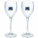 Flag of Alaska Blue Pewter Accent Wine Glass Goblets, Set of 2