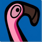 Flamingo Bird Facing Right Wrapped Canvas Giclee Print Wall Art