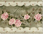 Fleur Border Roses Wrapped Canvas Giclee Print Wall Art