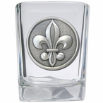 Fleur De Lis #2 Pewter Accent Shot Glasses, Set of 4