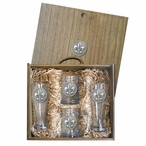 Fleur De Lis #2 Pilsner Glasses & Beer Mugs Box Set w/ Pewter Accents