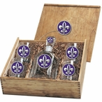 Fleur De Lis 2 Purple Capitol Decanter & DOF Glasses Box Set w/ Pewter