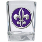 Fleur De Lis #2 Purple Pewter Accent Shot Glasses, Set of 4