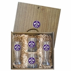 Fleur De Lis #2 Purple Pilsner Glasses & Beer Mugs Box Set with Pewter