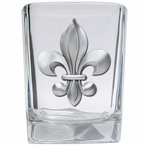Fleur De Lis Pewter Accent Shot Glasses, Set of 4