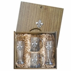 Fleur De Lis Pilsner Glasses & Beer Mugs Box Set with Pewter Accents