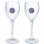 Fleur De Lis Purple Pewter Accent Wine Glass Goblets, Set of 2