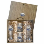 Float Plane Blue Pilsner Glasses & Beer Mugs Box Set w/ Pewter Accents