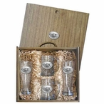 Float Plane Pilsner Glasses & Beer Mugs Box Set with Pewter Accents