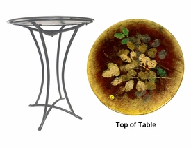Floral Fused Glass Metal Table