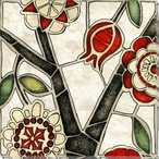 Floral Mosaic I Wrapped Canvas Giclee Print Wall Art