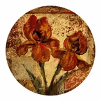 Floral Song Sandstone Round Coasters by Patrick Rosenstiels, Set of 8