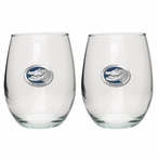 Florida Alligator Blue Pewter Stemless Wine Glass Goblets, Set of 2