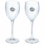 Florida Alligator Blue Pewter Accent Wine Glass Goblets, Set of 2