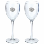 Florida Alligator Pewter Accent Wine Glass Goblets, Set of 2