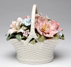 Flower Basket with Handle Musical Music Box Sculpture