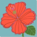 Flower Bright Hibiscus Wrapped Canvas Giclee Print Wall Art