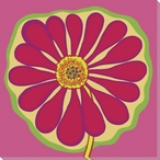 Flower Pink Zinnia Wrapped Canvas Giclee Print Wall Art