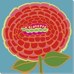 Flower Red Zinnia Wrapped Canvas Giclee Print Wall Art